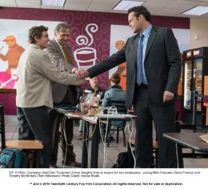 From left, Mike Pancake (Dave Franco), Timothy McWinters (Tom Wilkinson) and Dan Truckman (Vince Vaughn) prepare for a cheer in a Dunkin' Donuts, where their business venture started. Unfinished Business was released on March 6, 2015. Photo by Nicole Revelli. (Source)